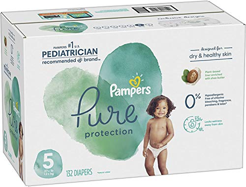 Diapers Size 5, 132 Count – Pampers Pure Protection Disposable Baby Diapers, Hypoallergenic and Unscented Protection, ONE MONTH SUPPLY