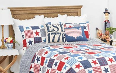 C&F Home Ellis Americana Cotton Patriotic USA 4th of July Memorial Day Labor Day Twin Machine Washable Reversible Quilt Twin Quilt
