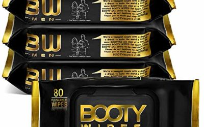 BOOTY WIPES for Men – 320 Flushable Wet Wipes for Adults, Man Wipes Infused with Vitamin-E & Aloe (320 Wipes Total – 4 Flip-Top Packs of 80) Hypoallergenic