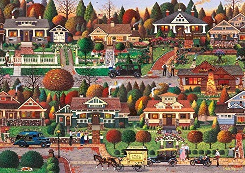 LLJFHRH New Jigsaw Puzzle 1000 Piece Jigsaw Puzzle for Adults – Charles Wysocki-Labor Day in Bungalowville