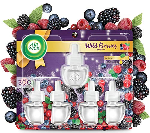Air Wick Plug in Scented Oil 5 Refills, Wild Berries, Fall scent, Fall spray, (5×0.67oz), Essential Oils, Air Freshener, Packaging May Vary