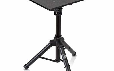 Universal Laptop Projector Tripod Stand – Computer, Book, DJ Equipment Holder Mount Height Adjustable Up to 35 Inches w/ 14'' x 11'' Plate Size – Perfect for Stage or Studio Use – PylePro PLPTS2
