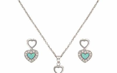 Montana Silversmiths Womens River Lights Opal Heart Jewelry Set Multi