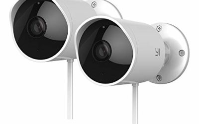 Yi 2pc Security Camera Outdoor, 1080p Outside Surveillance Front Door IP Smart Cam with Waterproof, WiFi, Cloud, Night Vision, Motion Detection Sensor, Smartphone App, Works with Alexa