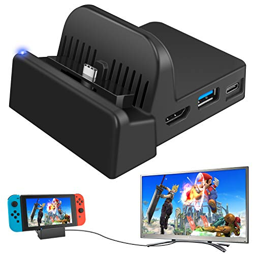 Ponkor Docking Station for Nintendo Switch, Charging Dock 4K HDMI TV Adapter Charger Set Good Replacement compatible with Official Nintendo Switch Dock (Upgraded System)