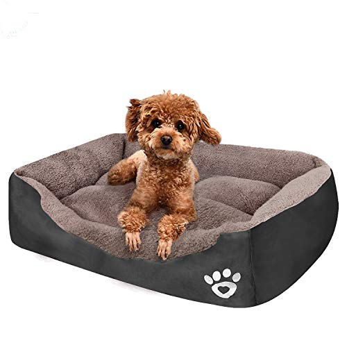 PUPPBUDD Pet Dog Bed for Medium Dogs(XXL-Large for Large Dogs),Dog Bed with Machine Washable Comfortable and Safety for Medium and Large Dogs Or Multiple (L-Small-27.6''x19.7'', Grey)