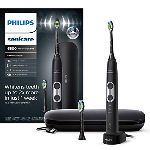 Philips Sonicare ProtectiveClean 6500 Rechargeable Electric Toothbrush with Charging Travel Case and Extra Brush Head, Black HX6462/08