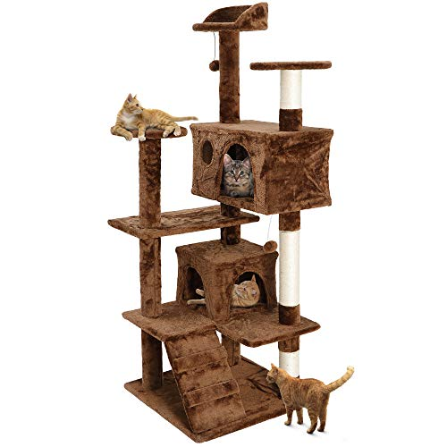 Nova Microdermabrasion 53 Inches Multi-Level Cat Tree Stand House Furniture Kittens Activity Tower with Scratching Posts Kitty Pet Play House (Brown)