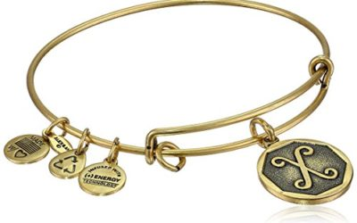 "Alex and Ani Rafaelian Gold-Tone Initial ""X"" Expandable Wire Bangle Bracelet, 2.5"""