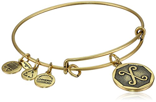 "Alex and Ani Rafaelian Gold-Tone Initial ""X"" Expandable Wire Bangle Bracelet, 2.5"""