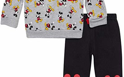 Disney Baby Boys' Mickey Mouse 2 Piece Jogger Set – Fleece Pullover Crew Neck Sweatshirt & Sweatpants Set (Infant), Grey/Black, Size 18 Months