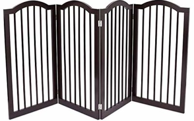 Internet's Best Pet Gate with Arched Top – 4 Panel – 36 Inch Tall Fence – Free Standing Folding Z Shape Indoor Doorway Hall Stairs Dog Puppy Gate – Fully Assembled – Espresso – MDF