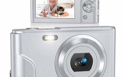 Digital Camera, Lecran FHD 1080P 36.0 Mega Pixels Vlogging Camera with 16X Digital Zoom, LCD Screen, Compact Portable Mini Cameras for Students, Teens, Kids (Silver)