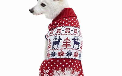 """Blueberry Pet Vintage Ugly Christmas Reindeer Holiday Festive Pullover Dog Sweater in Tango Red & Navy Blue, Back Length 18"""", Pack of 1 Clothes for Dogs"""