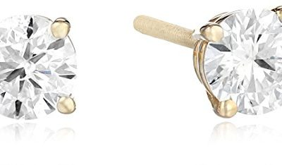 Amazon Collection IGI-Certified 14k Yellow Gold Round-Cut Diamond Stud Earrings (3/4 cttw, H-I Color, I1 Clarity)