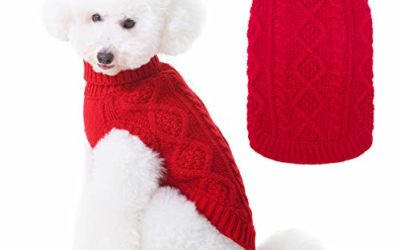 Turtleneck Knitted Dog Sweater – Classic Cable Knit Dog Jumper Coat, Warm Pet Winter Clothes Outfits for Dogs Cats in Cold Season