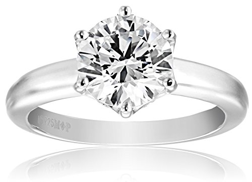 Amazon Collection Platinum-Plated Sterling Silver Solitaire Ring set with Round Swarovski Zirconia (2 cttw), Size 6