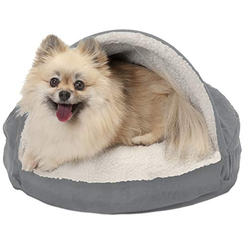 Furhaven Pet Dog Bed – Orthopedic Round Cuddle Nest Faux Sheepskin Snuggery Blanket Burrow Pet Bed with Removable Cover for Dogs and Cats, Gray, 18-Inch