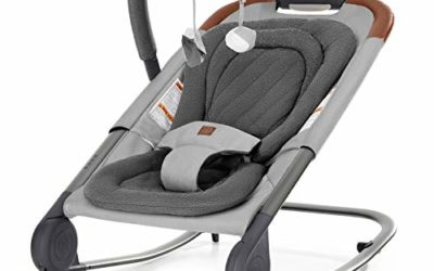 born free KOVA Baby Bouncer – Baby Rocker with Two Modes of Use, Removable Toys and Compact Fold for Storage or Travel – Easy to Clean, Machine Washable Fabrics, Grey