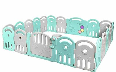 Costzon Baby Playpen, 20-Panel Kids Safety Yard Activity Center Playard with Safety Lock & Educational Toys, Portable Play Yards with Music Box & Basketball Hoop, Indoor Outdoor Use (Green, 20-Panel)