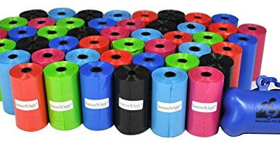 Downtown Pet Supply 960 Pet Waste Bags, Dog Waste Bags, Bulk Poop Bags with Leash Clip and Bone Bag Dispenser – (960 Bags, Rainbow of Colors)