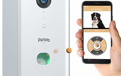 Faroro Dog Camera Treat Dispenser 1080P FHD Night Vision WiFi Pet Tossing Camera with 2-Way Audio for Monitoring and Talking with Your Pet Remotely