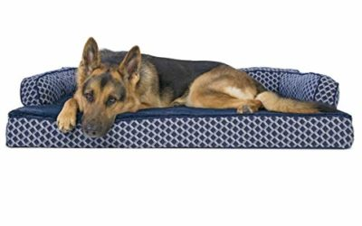 Furhaven Pet Dog Bed – Orthopedic Plush Faux Fur and Décor Comfy Couch Traditional Sofa-Style Living Room Couch Pet Bed with Removable Cover for Dogs and Cats, Diamond Blue, Jumbo
