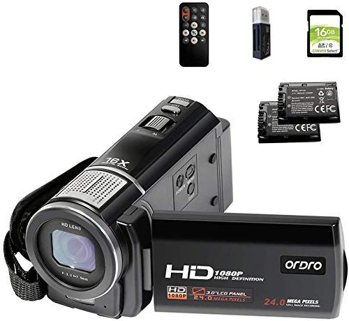 ORDRO Video Camera FHD 1080P 30FPS Camcorder HDV-F5 with 16GB SD Card Digital YouTube Vlogging Camera Recorder 24MP 3.0 Inch 270° Rotation LCD 16X Digital Zoom Camcorder, 2 Batteries