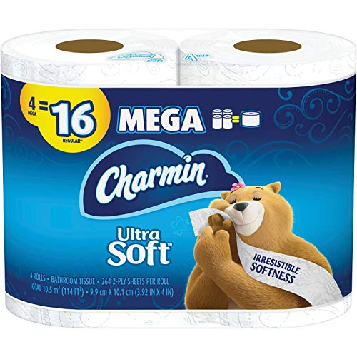 Charmin Ultra Soft Bathroom Tissue, White 4 per Pack