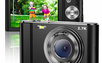 Digital Camera 2.7K Mini Video Camera Full HD 44MP 2.88 Inch LCD Screen 16X Digital Zoom Compact Pocket Rechargeable Small Students Cameras, Gift for Teens, Kids, Beginners, Adults, 2 Batteries