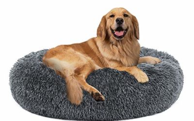 "PUPPBUDD Calming Dog Bed Cat Bed Donut, Faux Fur Pet Bed Self-Warming Donut Cuddler, Comfortable Round Plush Dog Beds for Large Medium Dogs and Cats (24""/32""/36"")"