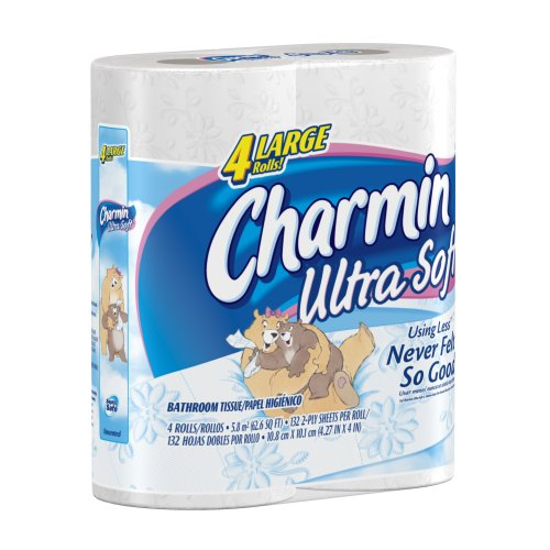 Charmin Ultra Soft Toilet Paper Large Rolls, 4-Count (Pack of 12)