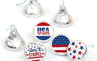 Big Dot of Happiness Stars and Stripes – Memorial Day, 4th of July and Labor Day USA Patriotic Party Round Candy Sticker Favors – Labels Fit Hershey's Kisses (1 Sheet of 108)