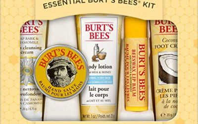 Burt's Bees Essential Gift Set, 5 Travel Size Products – Deep Cleansing Cream, Hand Salve, Body Lotion, Foot Cream and Lip Balm