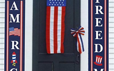 """4th of July Porch Sign Patriotic Door Decoration – """"Let Freedom Ring"""" and """"GOD Bless America"""", Fourth of July Memorial Day Independence Day Flag Day Labor Day Hanging Banner for Yard Indoor Outdoor"""