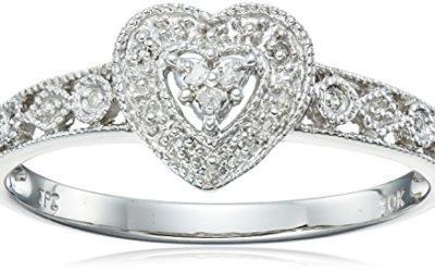 10k White Gold Diamond Heart Ring (0.03 cttw, I-J Color, I2-I3 Clarity), Size 5