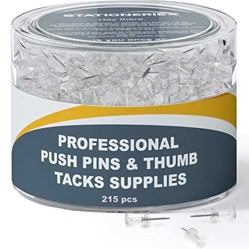 215 Clear Push Pins for Bulletin Board Thumb Tacks for Wall Corkboard Map Calendar Photo -Home Office Craft Projects Heavy Duty Plastic Head Steel Pin