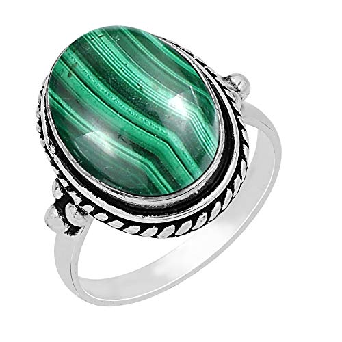 Malachite Ring Size 7 925 Silver Overlay Vintage Style Handmade Solitaire Ring
