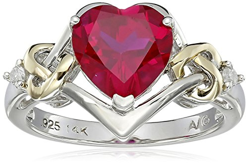 Sterling Silver and 14k Yellow Gold Diamond and Heart-Shaped Created Ruby Ring (0.03 cttw, I-J Color, I3 Clarity), Size 6