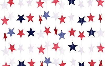TecUnite 8 Strands Patriotic Star Streamers Banner Garland for 4th of July BBQ, Memorial Day, Veterans Day Party, Independence Day Celebration, Labor Day, Holiday Decorations, Red White Blue