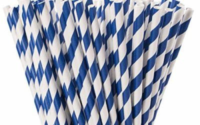 Webake Biodegradable Paper Straws Blue Striped 144 Bulk Paper Drinking Straws for Labor Day, Baby Shower, Cake Pop, Cake Topper Party Supplies Patriotic Navy Blue