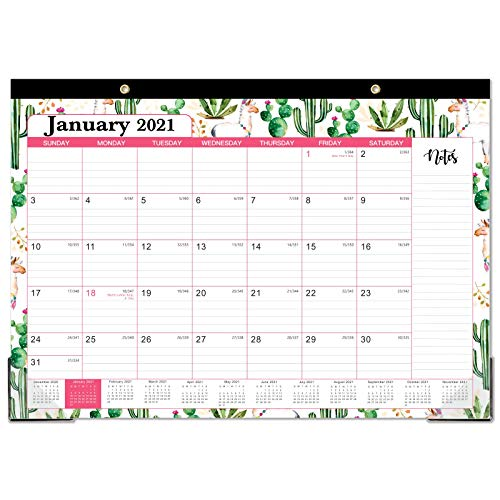 "2021 Desk Calendar – Yearly Desk/Wall Calendar, 12 Months Desk Calendar, 12"" x 17"", January 2021- December 2021, Large Ruled Blocks for Planning and Organizing for Home or Office"