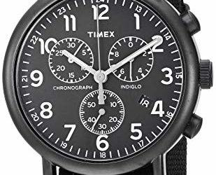 Timex Unisex TWF3C8420 Weekender Chrono Black Double-Layered Nylon Slip-Thru Strap Watch
