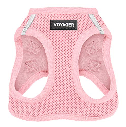 """Voyager Step-in Air Dog Harness – All Weather Mesh, Step in Vest Harness for Small and Medium Dogs by Best Pet Supplies – Pink (Matching Trim), M (Chest: 16-18"""") (207T-PKW-M)"""