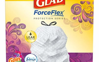 Glad ForceFlex Tall Kitchen Drawstring Trash Bags – 13 Gallon White Trash Bag, Gain Island Fresh Scent with Febreze Freshness – 110 Count (Package May Vary)