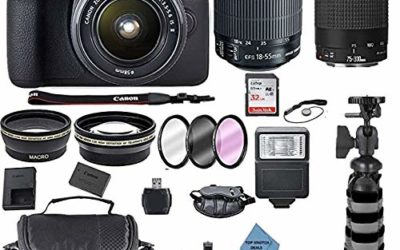 Canon EOS 2000D Rebel T7 Kit with EF-S 18-55mm f/3.5-5.6 III Lens + Canon 75-300 Lens+ Accessory Bundle +TopKnotch Deals Cloth