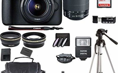 Canon EOS 4000D Digital SLR Camera w/ 18-55MM DC III Lens Kit (Black) with Accessory Bundle, Package Includes: SanDisk 32GB Card + DSLR Bag + 50'' Tripod+ Inspire Digital Cloth (International Model)