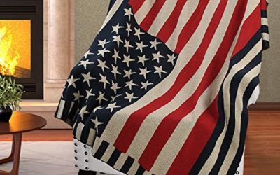 Patriotic US Flag Blanket,American National Flag Print Cable Knit Throws,4th of July Citizenship Veteran Labor Day Gift,50X60 inches